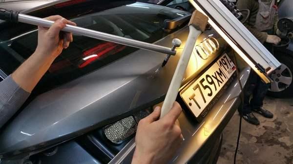 ремонт вмятин на крышке багажника